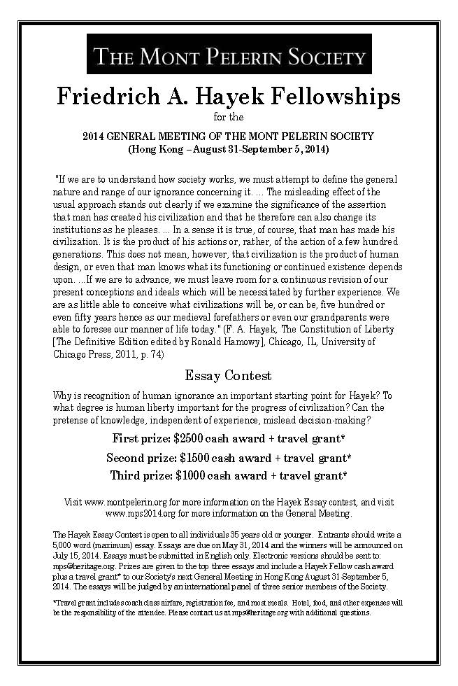 2014 Hayek Essay Contest Flier (US) 8 5x11